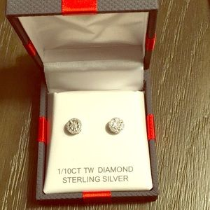 Sterling Silver diamond earrings. 1/10 carat